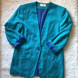 Vintage 80s Checkered Rayon Blend Blazer